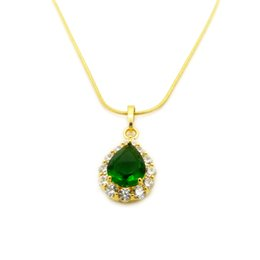 yellow gold 18k Australia - Drop Pendant Chain 18k Yellow Gold Filled Delicate Green Stone Womens Pendant Gift