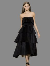 Longitud Negra Del Té Del Vestido Del Tafetán Baratos-Vestidos de noche con el imperio tafetán sin tirantes de té de longitud faldas cansadas pliegues Zipper-Up Little Black vestidos de noche desgaste # DL60265