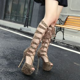 leopard boots shoes high heel NZ - 16CM Ultra high heels leopard hollow out lace up knee long boots open toe summer shoes women size 35 to 40