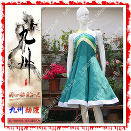 Barato Traje Da Cauda De Fadas Do Anime-Atacado-feericamente cauda Wendy Marvell Cosplay Costume Deep Green Custom Made vestido