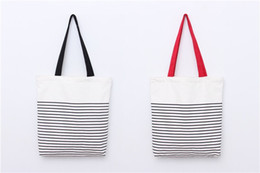 Chinese  Promotion fashion With Stripe Shopping Tote Cotton Canvas Bag Stripe canvas beach bag tote bag wholesale manufacturers