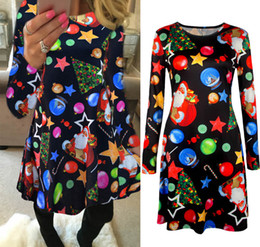 flora costume 2021 - 2017 Winter Autumn Christmas Dress Women Long Sleeve Christmas Costumes Santa Deer Printed Dresses Women Xmas Party Clothes 5XL size 0212