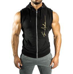$enCountryForm.capitalKeyWord Australia - Men's Sleeveless Sportwear Zipper Hoodies Camisetas Gym Masulina Hobre Coat Bodybuilding and fitness hoodies Sweatshirts Muscle