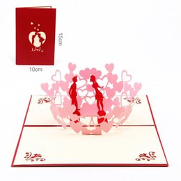 Invitation 3d Canada - 10pcs lot Laser Cut Wedding Invitations Creative Lover Couples 3D Pop UP Card Kirigami & Origami Valentine's Greeting&Gift Cards