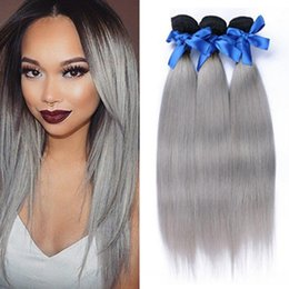 New roots hair extensions nz buy new new roots hair extensions 3 pieces two tone color 1b gray ombre silky straight human hair weave weft extensions sliver grey dark root ombre hair bundles pmusecretfo Image collections