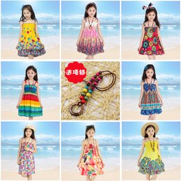 princess kids necklaces 2019 - Baby Rainbow Beach Dress Long Bohemian Dress Kids Princess Flower Dresses With Necklace Girls Sleeveless Cotton Dresses