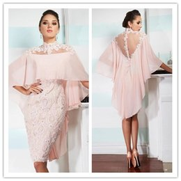 $enCountryForm.capitalKeyWord NZ - 2016 Pink High Neck Cocktail Dresses with Chiffon Wraps Sheer Back Lace Sheath Knee Length Evening Dresses with Beaded Appliques