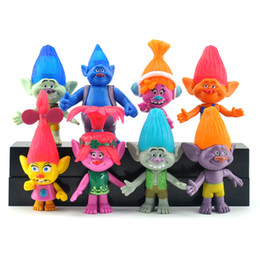 2016 dreamworks movie trolls 8pcs 11cm pvc action figures toys for kids christmas gift dhl free shipping