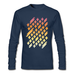 Geometric Art Print Canada - Gradient men's long sleeve tops popular geometric print male clothing high quality shirt Colorful sunset painted crosses & pattern art
