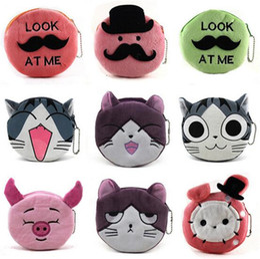 Smiling Cat Pendant Canada - new arrive 16 designs cartoon QQ expression cat girl Coin Purses cute emoji coin bag plush pendant smile wallet D731