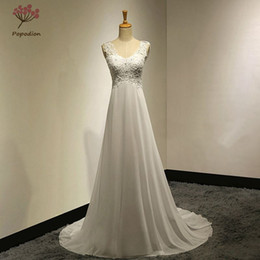 Chinese  Popodion Summer Chiffon Beach Wedding Dresses Plus Size Wedding Gowns Plus Size Backless Wedding Dresses online shop china dhWED90016 manufacturers