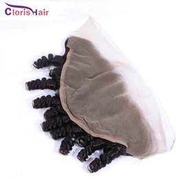 Discount silk frontal hair - Lace Frontal Closure 13x4 Raw Indian Human Hair Aunty Funmi Romance Curls Cheap Silk Full Lace Frontals Closure Piece Ea