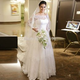 $enCountryForm.capitalKeyWord Canada - Sparking Beaded White Lace Long Sleeves Bridal Gown A line Boat Neck Wedding Dress 2019 Court Train Wedding Gowns Custom Made
