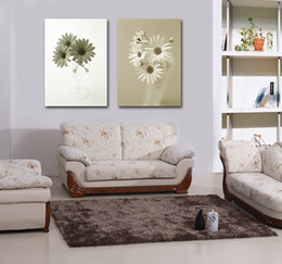 White Rose Oil Painting Canada - Free shipping 2 Pieces no frame Canvas Prints Chrysanthemum rose potted flower Morning glory Selling Home decoration Beautiful white flower