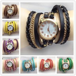 Charm Chain Belt Canada - 2015 hot Infinity Bracelet Watch Quartz Watches Creative woven rope chain belt round bracelet watch Multilayer Bracelet