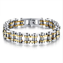 Steel Metal Bangles Canada - Classical Bicycle Heavy Metal Motorcycle Chain Bracelet Punk Style 316L Stainless Steel Bracelets Bangles For Men Jewelry