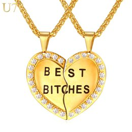 Chinese  unique New Women Couple Pendant Heart Necklace Gold Plated Best Bitch Stainless Jewelry Necklace Girl Sister Two Necklace Gift P827 manufacturers