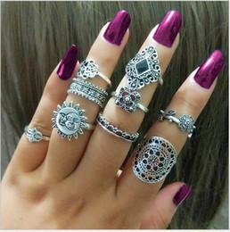Hollow Fingers Australia - 120set Boho crown flower Midi Fingers Rings Sets For Women 9pcs set Fashion Retro hollow Knuckle Ring Bagues Femme F457