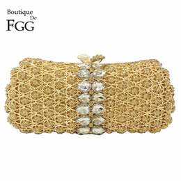 gold metal clutch bag UK - Dazzling Gold Plated Women Topaz Crystal Metal Mini Evening Clutches Bag Bridal Party Dinner Hollow Out Shoulder Handbags Purse