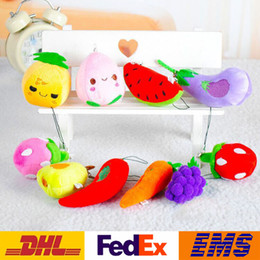 cell phone designs Canada - New Fruit Vegetables Designs Plush Pendant Toys Children Kids Car Pendant Cell Phone Bag Key Rings Keychain XMAS Gifts 6-13cm WX-K40