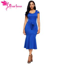 eb0eba10a97d Caro Lover Abiti da lavoro donna usura Royal Blue Cold spalla arco  dettaglio manica corta sirena vestito abiti casual verano LC61686 q1113