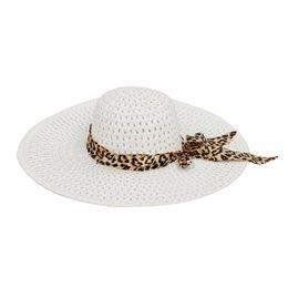 Al por mayor-SAF-White Summer Exquisite Leopard Ribbon Bowknot decorado  sombrero de sol calado para las mujeres 99c3f78e305