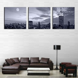 Oil Night Canada - 3 Panel Wall Art Painting Nice Night Scene Prints On Canvas City The Picture Decor Oil For Home Modern Decoration Print For Furniture