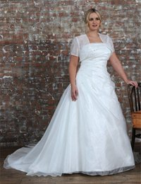 Beaded Wedding Jacket White NZ - New Design Plus Size Wedding Dress with Jacket Short Sleeve Strapless Beaded Pleated Organza A Line Bridal Gowns Custom Made