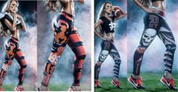 yoga pants models 2019 - Digital printing Burst models Europe skull print yoga legs pants 93 football baseball jogging training personalized tige