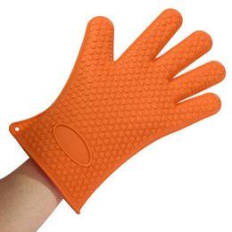 Oven Gloves Set Canada - Kitchen Glove Heat Resistant 1 PC Silicone Glove Oven Pot Holder Baking Heat Glove Kitchen guante silicona horno cooking gloves order<$18no