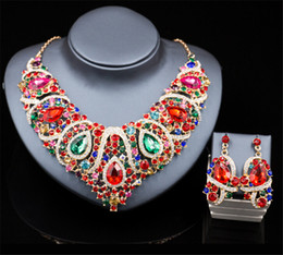$enCountryForm.capitalKeyWord NZ - Wholesale Artificial Jewelry Necklace Earrings Set Wedding Bridal Crystal Rhinestone Pendant Necklace Blue Green Red Party Prom Gold Jewelry