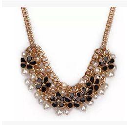 Valentine Beautiful Gifts Canada - New 2016 Beautiful Enamel Plum Flowers & Pearl Short Statement Necklace Bib Choker Necklace Fashion Women Jewelry Valentines' Day Gift