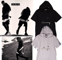 e5ff1800abe2 Men t shirt tyga cool oversized Gold side zipper hip hop extended hood t-shirt  tee top hba jay-z casual lengthen tee shirt free shippping