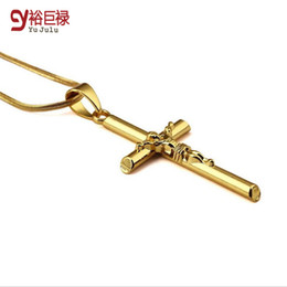 Real gold chain pendant foR men online shopping - 18k Real Gold Plated Flat Snake Chain Cristo Jesus Cross Necklace Hiphop Gold Plated Pendant Necklace For Men Women Religious Jewelry