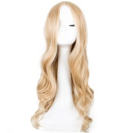 Long Wave Costumes Hair UK - Cosplay Wig Synthetic Long Curly Middle Part Line Blonde Women Hair Costume Carnival Halloween Party Hairpiece