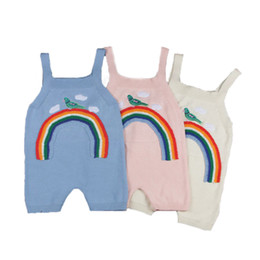 Costumes De Cou De Conception Pas Cher-Tissé Baby Girls Romper Strap Baby Girls Suit Autumn Ensemble pour enfants Tricot Fashion Design Rainbow Baby Girls Clothes