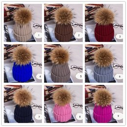 Wholesale New Fashion Winter pure color knitting hat Korean Style cm hair bulb hat woman Beanie thick warm fur hats B0790