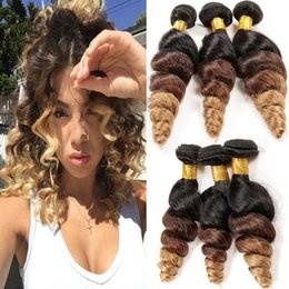 27 pcs human hair extension Canada - Loose Wave 3 Tone Hair Weaves Brazilian Hair 1B 4 27 Hair Extensions Loose Curly Ombre Human Hair Weaves 3 Pcs Lot