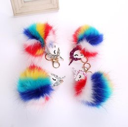 Chinese  Unicorn Keychain Pompom Fur Car Key Chain Bag Pendant Key Ring Ball Car Fur Toys Ball Doll Women Bag Charm KKA3147 manufacturers