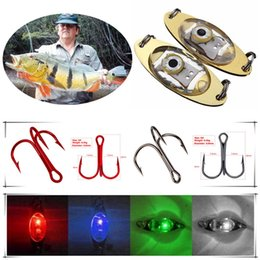 Discount led fishing lure 10pcs LED Iron Lure + 10pcs 6# Black Red Triple Anchor Hook Fishing Hooks Artificial Pesca Fishing Tackle Underwater Fis