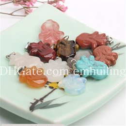 Chinese Pendants Wholesale NZ - Natural Agate Quartz Gem Stone Charm Carved Good Fortune Chinese Cabbage Pendant Lucky Vegetable Pendant Beads Fit Handmade Jewelry Necklace