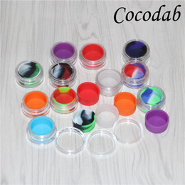 Discount plastic jars 5ml - Transparent bho Plastic containers 5ml acrylic dab box containers for wax bho containers e-cig clear silicon oil jars DH