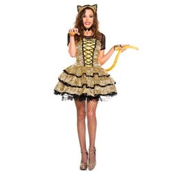 Discount leopard cat woman costume - New Yellow Leopard Little Cat Costumes Clothing European And American Game Uniforms Halloween Dress Up Theme Party Costu