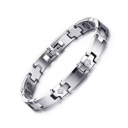 Healing magnets online shopping - Jewelry Fashion Healthy Bracelet Healing Stainless Steel Magnet Stone Bracelets CZ Women Men Jewelry A Great Birthday Gift B883S