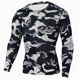 Venta al por mayor de Rayo Mens Compression Base Layer levantamiento de pesas Fitness apretado MMA Crossfit Tops Rashguard camiseta camuflaje mangas largas