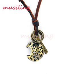 Chinese  musiling Jewelry Leather Necklace Hip Hop Jewelry Metal Moon Pendants Accessories Mens Jewelry Adjustable Punk Cowboy Decorations Gift manufacturers