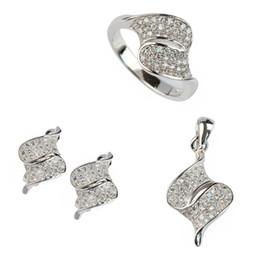 Copper Earrings Australia - Copper Rhodium Plated Cute heart set (ring earring pendant) White Cubic Zirconia Noble Generous MN3237set sz#6 7 8 9 Recommend New pattern