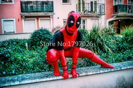 Wholesale zentai lycra mask online – ideas Avengers Halloween Women Deadpool Costume with Deadpool Mask Superhero Costumes Pattern Lycra Spandex Zentai Suits for Ladies