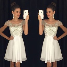 Discount short dress sequin top white - 2017 New Arrival Sweet 16 Scoop Short Homecoming Dresses Cap Sleeves Top Beading Chiffon Cocktail Party Gowns For Girls