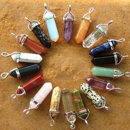 Шестиугольные колонны подвески Оптовая ювелирные аксессуары пуля кулон ожерелье природных полудрагоценных камней обработки low-15